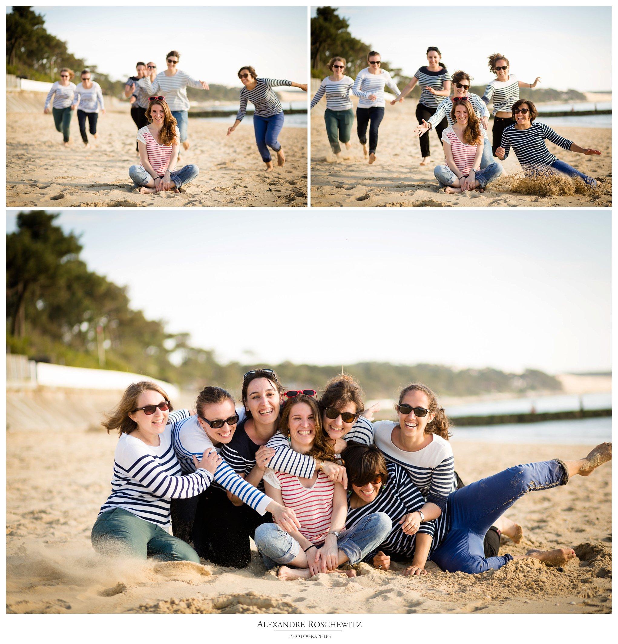 Les photos de l'EVJF d'Emilie et 6 amis à la plage du Pyla sur Mer. Alexandre Roschewitz Photographies