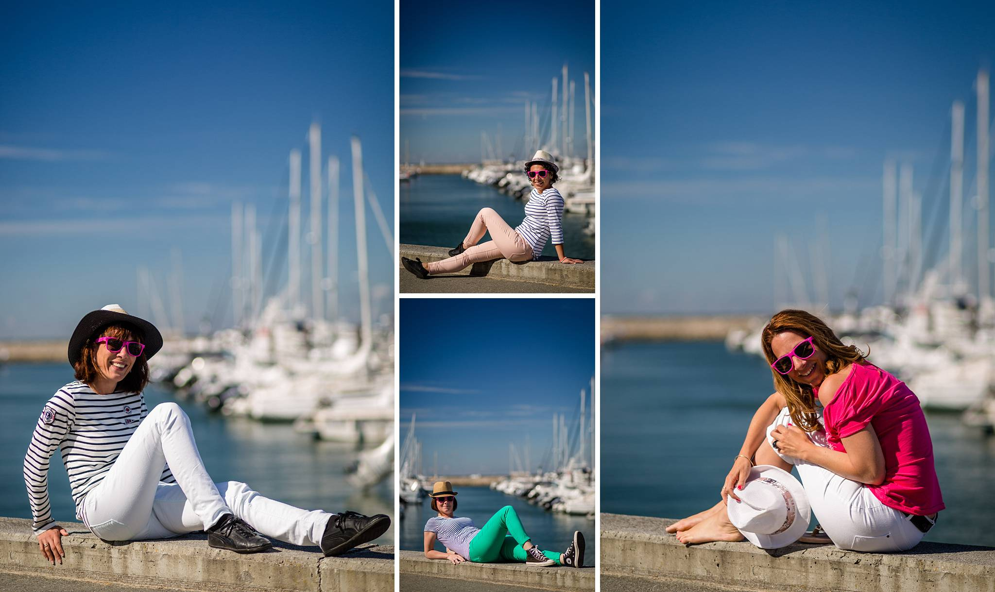 La séance photo de l'enterrement de vie de jeune fille de Laure au port de plaisance d'Arcachon en Gironde et sa plage ! Alexandre Roschewitz Photographe EVJF