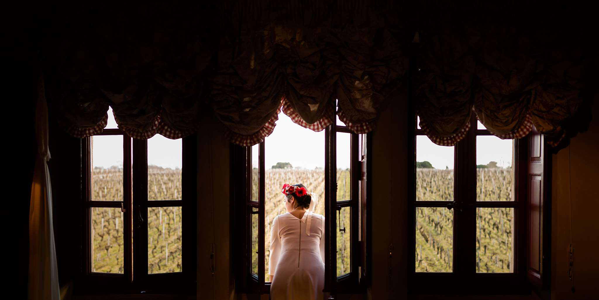 Photographe mariage d'hiver au Château Giscours en Gironde