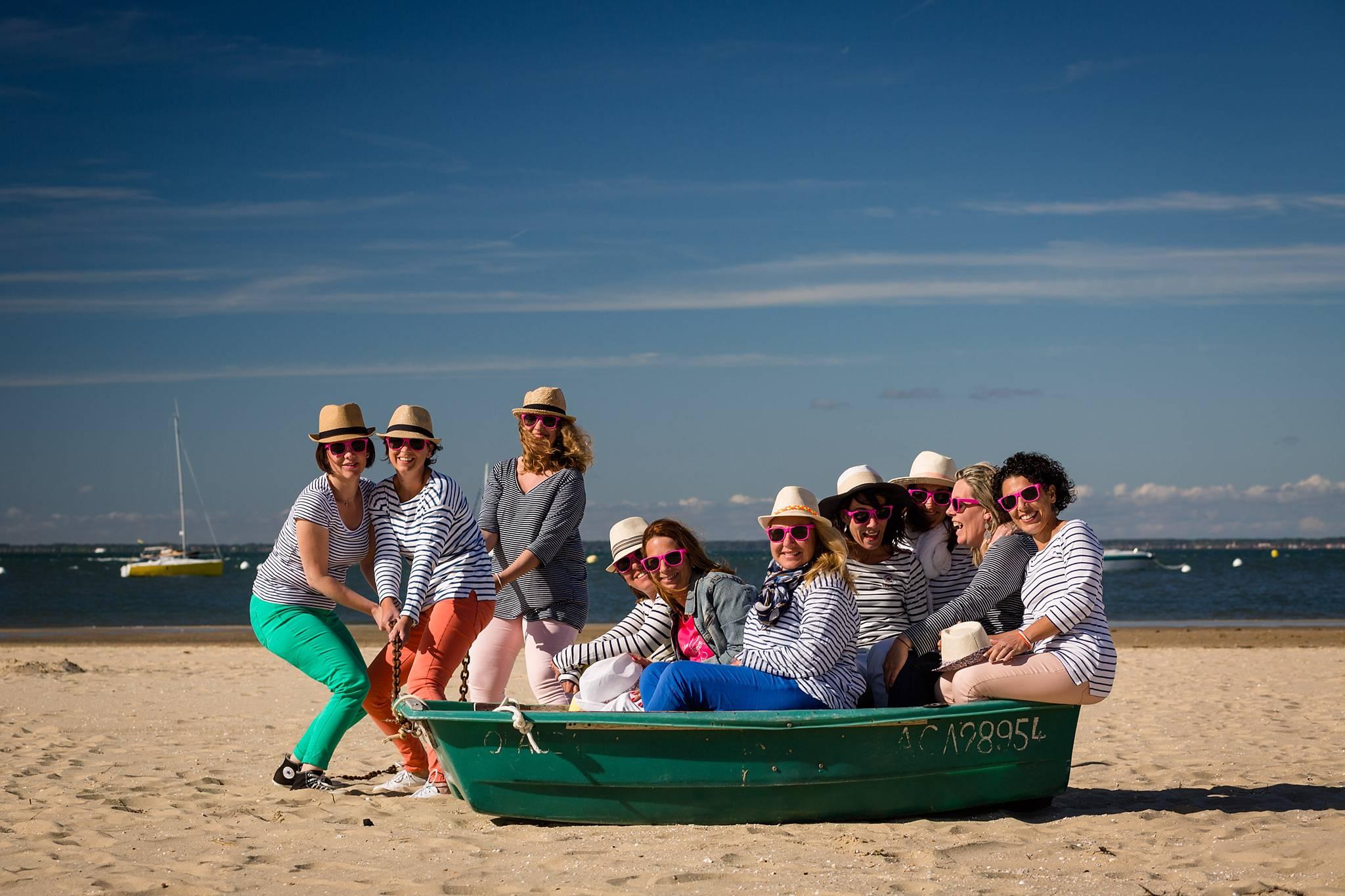 Seance photo EVJF sur la plage d'Arcachon