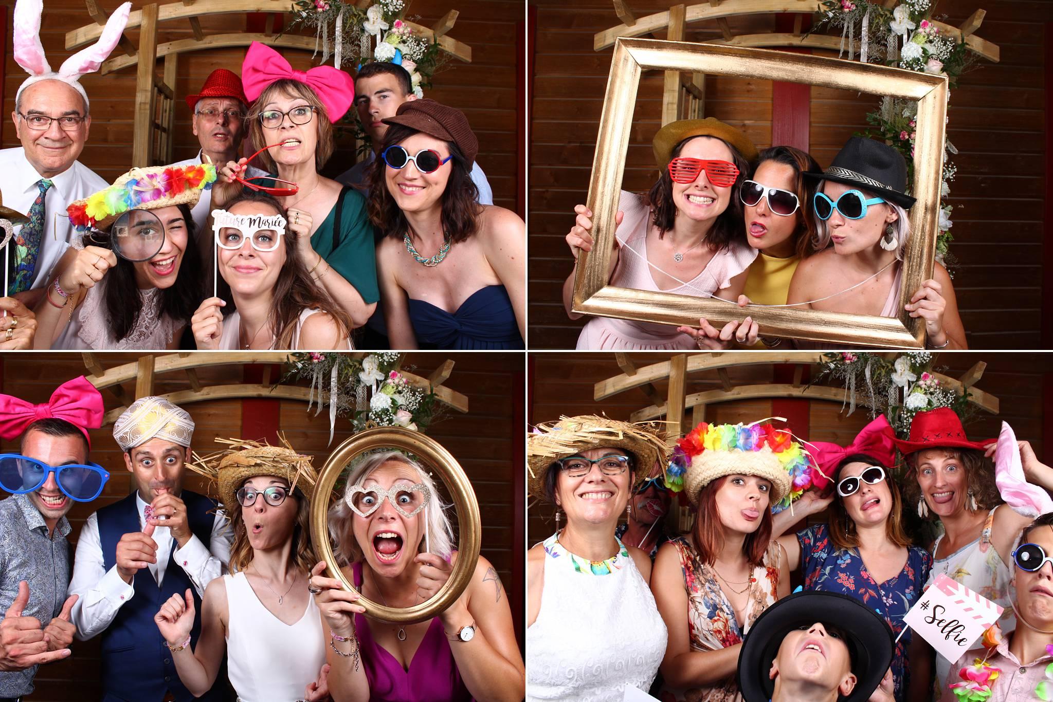 Un aperçu du photobooth mariage de Caroline et Yoann à Mios, Biganos, et à La Hesta de Biscarrosse.