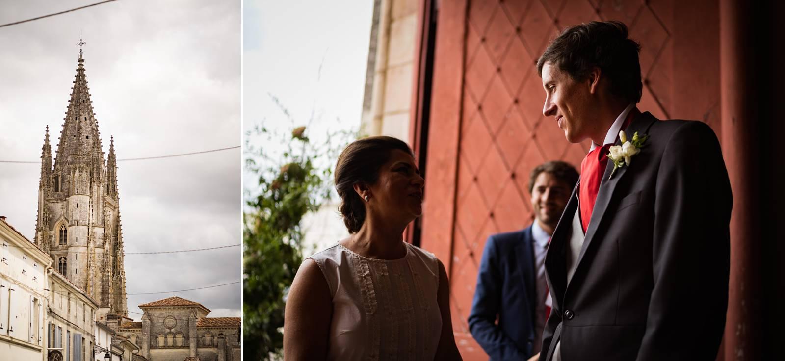 Le reportage mariage à la basilique Saint-Eutrope de Saintes et au Château La Roche Courbon en Charentes-Maritime. Alexandre Roschewitz Photographe Mariage.